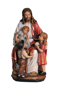 Jesus with children woodcarving