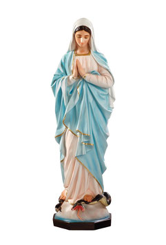 Our Lady of Grace fiberglass statue with clasped hands cm. 135