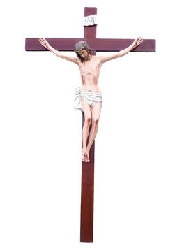 Crucifix cm. 320 x 180 with fiberglass statue
