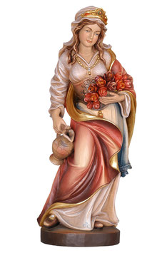 Saint Elizabeth woodcarving with roses and jug