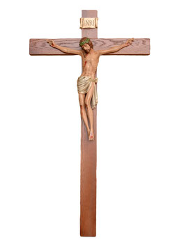Crucifix cm. 140 x 70 with resin statue