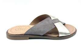 clic! Slipper Velour-platinmetallic