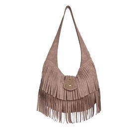 Fenix - beige suede fringe studded shoulder bag