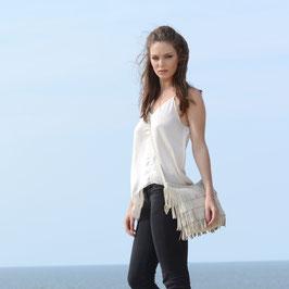 Luna leather fringebag crossbody - Ivory white