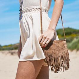 Lila suede fringed corssbody purse - camel