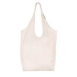 Ella - Ivory white minimalist soft leather hobo tote