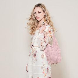 Kendra suede fringed shoulderbag - pink