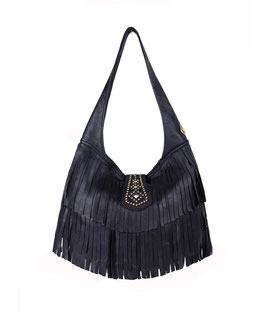 Fenix - black leather fringe studded bag