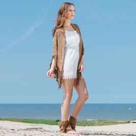 Nadia beige suede desert sandal fringe boots - beige camel
