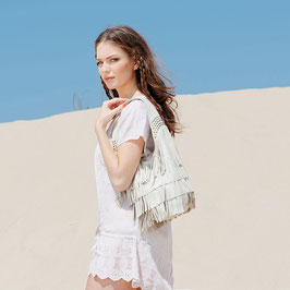 Farah leather hobo fringe bag with studs - cream