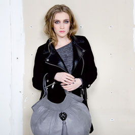 Java - grey large leather shopper handbag