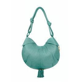 Goa - Sea Green luxury leather shoulder bag with bronze beads and tassels