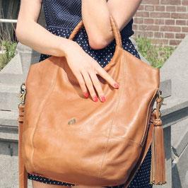 Mohini - tan brown large leather shopper crossbody tote bag