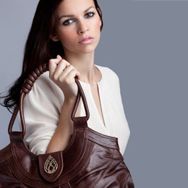 Bali - cacao brown large leather shopper handbag