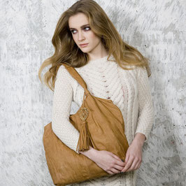 Yava - beige distressed leather hobo shoulder bag with tassel