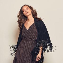 Erika kimono with leather fringes and studs - black