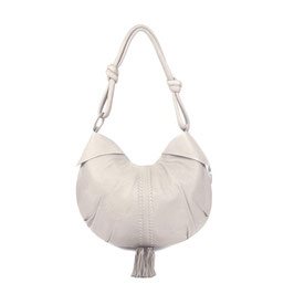 Goa - Ivory luxury leather shoulder bag with bronze beads and tassels