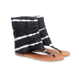 Nadia black leather desert sandal boots - black tye dye