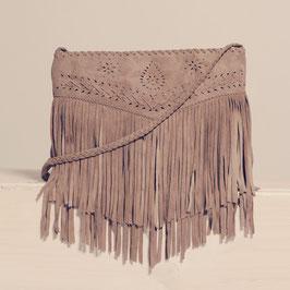 Erin western suede fringed crossbody bag - camel