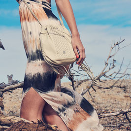 Goa - White leather crossbody bag with fringes and woven leather detailling