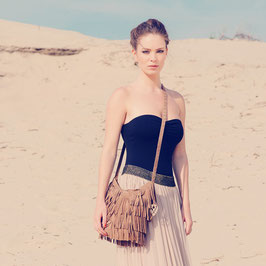 Luna suede fringed crossbody bag - camel