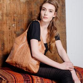 Nina - tan distressed leather hobo shoulder bag with woven details