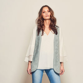 Sola vest with studs - grey blue