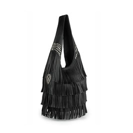 Farah leather hobo fringe bag with studs - black