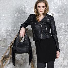 Fira - black leather studded hobo fringe bag