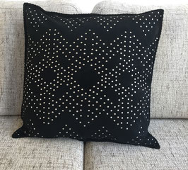 Eli - black genuine suede decorative throw pillow cover with silver studs