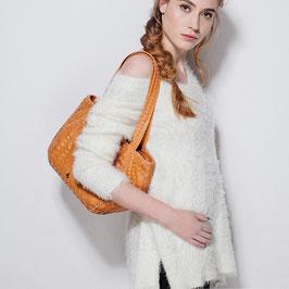 ALESSIA leather woven handbag - tan