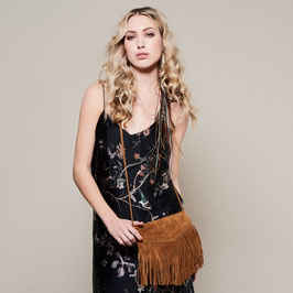 Tarifa: tan suede fringed crossbody bag with bronze studs