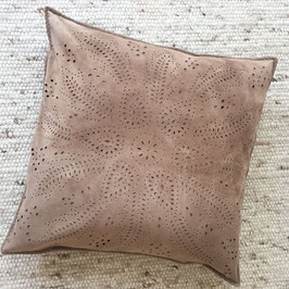Rosa - beige genuine suede decorative throw pillow cover