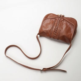 Salina leather saddle crossbody bag with embroidery details and tassel - tan