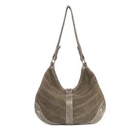 Yoko - khaki large leather shopper crossbody bag