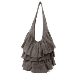 Faiga - Khaki taupe suede layered frills bag