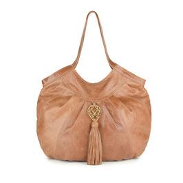 Java - tan large leather shopper handbag