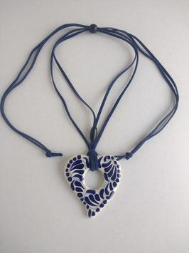 Dije de corazon talavera azul cobalto