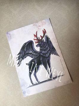 "Carte postale ""Cerf volant noir"""