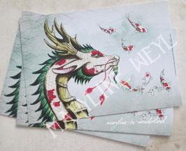 Carte Postale dragon d'Asie et carpe koï
