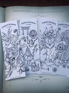"""Coloriage Lot n°2 de 4 marque-page à colorier """"esprits japonais à colorier"""" (tigre, chat, koï)"""