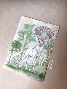 "Carte postale ""Cerf blanc"""