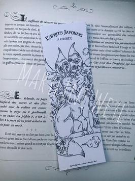 """Coloriage marque-page kitsune et fleurs à colorier """"esprits japonais à colorier"""""""
