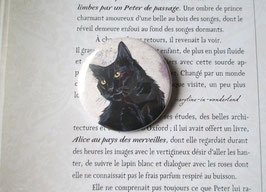 badge broche chat noir