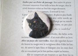 badge broche chat noir