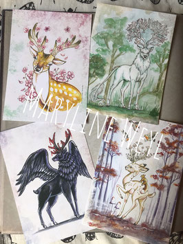 "Lot de 4 cartes postales ""cerfs"""