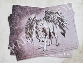 carte postale loup ailé