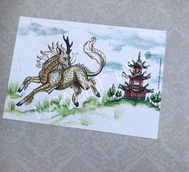carte postale Kirin cheval licorne japonaise