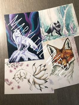 """Lot de 4 cartes postales """"renards"""""""