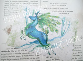 """carte postale """"le grimoire des animaux fabuleux""""-cerf paon"""